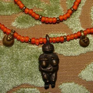 Goddess of Willendorf Pendant Rare Italian Orange Whiteheart Necklace