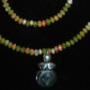Primordial Pendant Goddess Willendorf Pendant Unakite Necklace