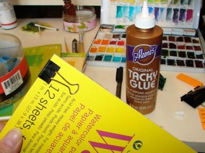 tacky glue + watercolor paper 2