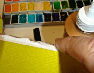 tacky glue + watercolor paper 4